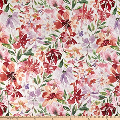 8b0504f6ca52 Amazon.com: Quality Linen 100% European Watercolor Floral Fabric, Red