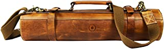 Leather Knife Roll Storage Bag, Elastic and Expandable 10 Pockets, Adjustable/Detachable Shoulder Strap, Travel-Friendly Chef Knife Case Roll By Aaron Leather (Caramel, Leather)