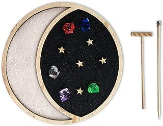 Mini Zen Garden Moon & Stars, Celestial Night Sky, Desktop Sandbox for Meditation and Relaxation