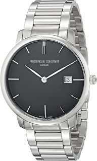 Frederique Constant Men's FC306G4S6B3 Slim Line Analog Display Swiss Automatic Silver Watch