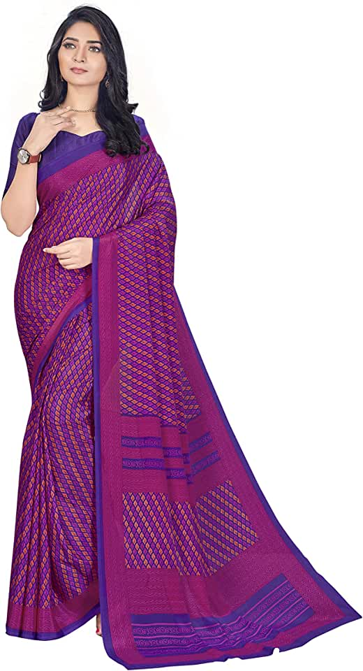 Indian Vimla * Women's Multi Crepe Silk Uniform Saree with Blouse (Multi_ 1311_AC) Saree