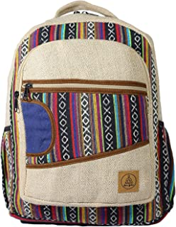 Natural Large Hemp Backpack - Blue Bag & Durable Anti Theft Travel Bag - Multi Color Stripe/Yoga/Hippie/Bohemian/Music Festival/Eco-Friendly/College Student Notebook Bag
