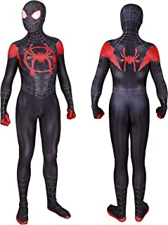 Unisex Lycra Spandex Halloween New into The Spider Verse Miles Morales Cosplay Costumes Adult/Kids 3D Style