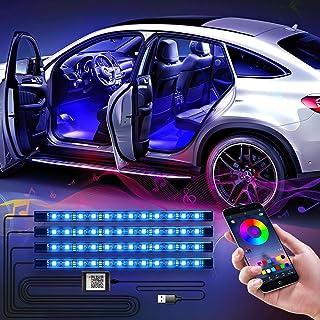 CTFIVING [2021 UPGRADED] Car Interior Lights WIth App Control 4pcs Million Color 72 LED Multicolor Music Car LED Strip Lig...