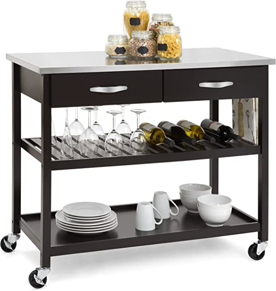 Best Choice Products Mobile Kitchen Island Utility Cart W Stainless Steel Countertop Drawers And Shelves Espresso