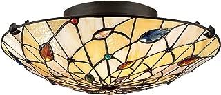 Quoizel TF1409SVB Tiffany Flush Mount Ceiling Lighting, 2-Light, 150 Watts, Vintage Bronze (6