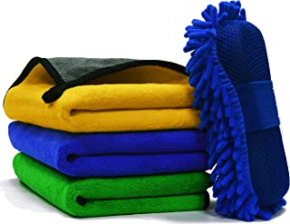 SWIPPLY Microfiber Towels Car Drying Towel (3+1) Set (40x40 Cm) Microfibre Cleaning Cloth for Cars With Washing Sponge for...