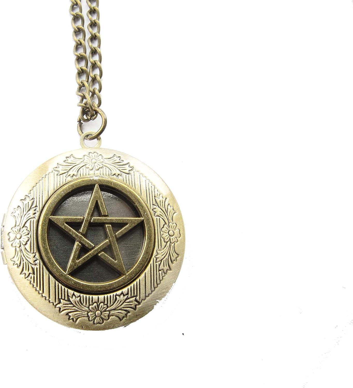 2Pcs Bronze Pentacle Locket Necklace Gothic Pentacle Charm Medieval Fantasy Locket Necklace Pentagram Locket Necklace