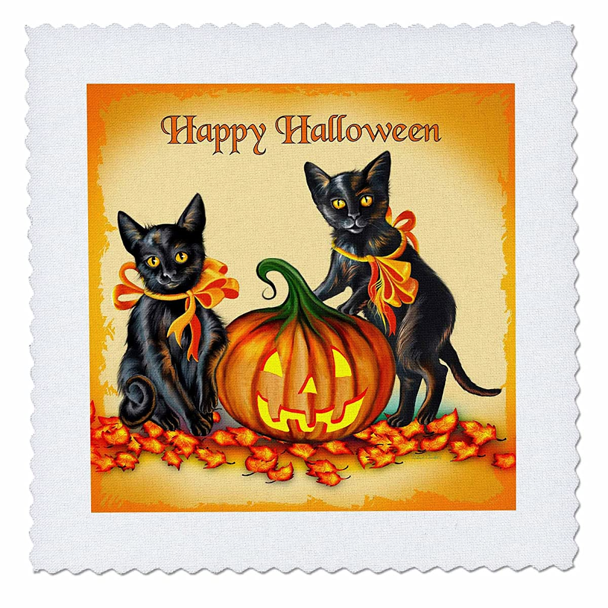 3dRose qs_11651_1 This Design Features a Pair of Frisky Black Kittens and a Glowing Jackolantern on Halloween Quilt Square, 10 by 10-Inch