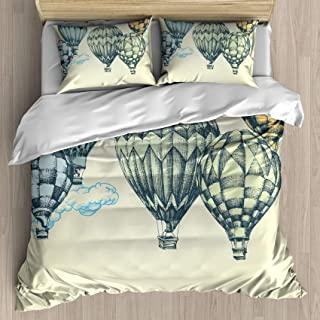 FEIDANNO Vintage Duvet Cover Set King Size, Hot Air Balloons in Soft Tones Fly in The Sky Air High Tourism Design Print,Decorative 3 Piece Bedding Set with 2 Pillow Shams.(Bule and Green,King)
