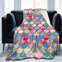 MSGUIDE Colorful Mermaid Scales Flannel Throw Blankets Super Soft Warm Plush Fluffy Lightweight Cozy Fuzzy Fleece Blankets...