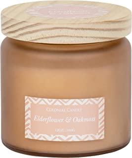 Colonial Candle Elderflower and Oakmoss, The Harvest Earth Collection, 12 oz. Highly Scented Candle in Frosted Glass Jar