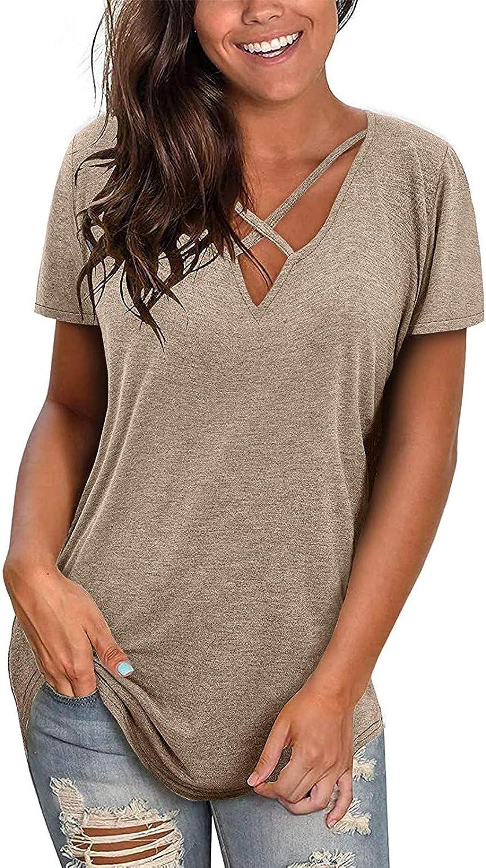 Womens Casual V Neck Short/Long Sleeve Criss Cross T-Shirt Blouse Tops