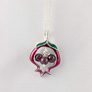 Pendant Pomegranate Garnet Beads Enameled Sterling Silver Reticulated Fruit Bat Mitzvah Judaica Jewelry Women Men Necklace