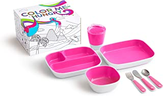 Munchkin Color Me Hungry Splash 7pc Toddler Dining Set – Plate, Bowl, Cup, and Utensils in a Gift Box, Pink