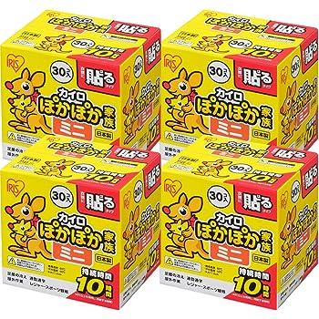 【4個セット】アイリスオーヤマ カイロ 貼る ミニ 30個入 ぽかぽか家族
