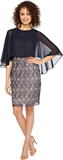Sangria Women's Lace Dress with Chiffon Overlay