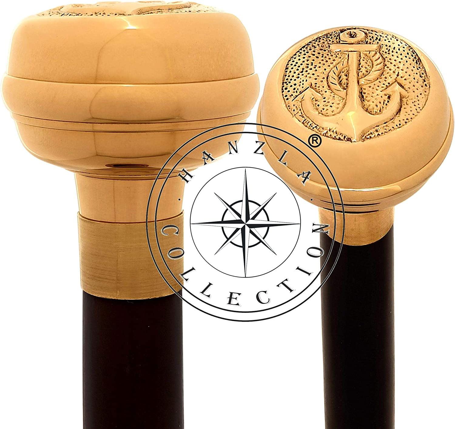 Hanzla Collection Polished Indianapolis Mall Brass Anchor Walking Handle Knob New sales Stic