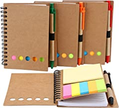 TOODOO 4 Packs Spiral Notebook Lined Notepad with Pen in Holder and Sticky Notes, Page Marker Colored Index Tabs Flags (Me...