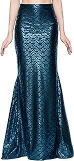Ladies Sexy Maxi Long Shiny Mermaid Skirts Green and Blue S-XXL