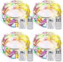 Ariceleo 4 Packs Warm White & Multi-Color Battery Operated String Lights, 5M/16.4ft. 50 LEDs Remote Control Timer 12 Modes...