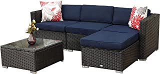 PHI VILLA Patio Furniture Set Rattan Wicker Sectional Sofa with Seat Cushions (5-Piece,Blue)
