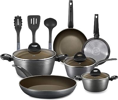 NutriChef 12-Piece Nonstick Kitchen Cookware Set - Professional Hard Anodized Home Kitchen Ware Pots and Pan Set, Includes Saucepan, Frying Pans, Cooking Pots, Dutch Oven Pot, Lids, Utensil - NCCW12S (Renewed)