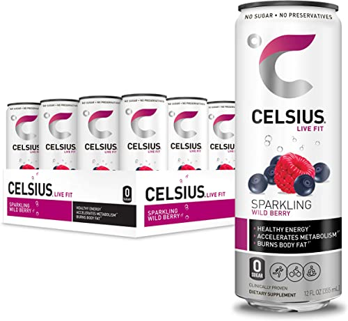 CELSIUS Sparkling Wild Berry Fitness Drink, Zero Sugar, 12oz. Slim Can (Pack of 12)