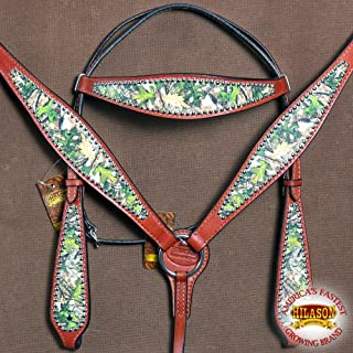HILASON Western Horse Headstall Breast Collar Set American Leather Camouflage