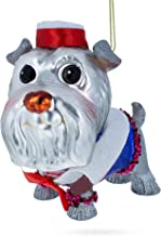 Schnauzer in The Hat Blown Glass Christmas Ornament