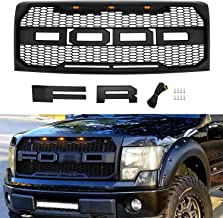Raptor Style Grill for F150 2009 2010 2011 2012 2013 2014, Front Grille for Ford with F& R Letters and Three Bright Amber LED Lights