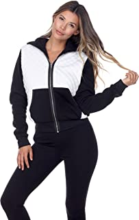 Ci Sono Women's 2 Tone Fur Lined Super Soft Quilted Zip Up Hoodie Sweater Pocket