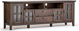 Simpli Home Artisan SOLID WOOD Universal TV Media Stand, 72 inch Wide, Contemporary, Storage Cabinet with Glass Doors, for Flat Screen TVs up to 80 inches Natural Aged Brown
