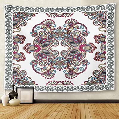 Berrykey Tapestry Bufanda Traditional Ornamental Floral Paisley Bandana Flower Shawl Home Decor Wall Hanging for Living Room Bedroom Dormisette 60x 80Inches