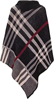 Women's Checked Knitted Winter Poncho Red Band Wrap Shawl Cape