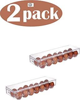 Ybmhome Refrigerator Bin and Freezer Storage Organizer Stackable for Kitchen, Covered Egg Holder, 14 Eggs, Clear 2125-2 (2, Egg Holder)
