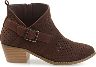 Brinley Co. Womens Perforated Faux Suede Stacked Heel Asymmetrical Booties