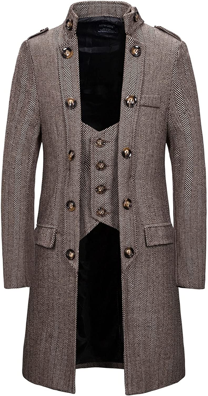 Men's Trench Ultra-Cheap Deals Coat Medium El Paso Mall Length Collar Woolen Fake Slim Stand-Up