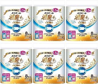 【まとめ買い】エリエール 消臭+(プラス) トイレットティシュー ダブル(37.5m) コンパクト8ロール(1.5倍巻き) フレッシュクリアの香り パルプ100%×6個
