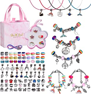 Goopow DIY Charm Bracelet Making Kit for Girls, 95 PCs Charm art supplies with Beads, girls rings,and necklaces, Jewelry C...