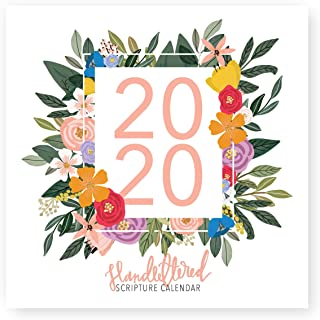 2020 Hand-Lettered Christian Calendar with Floral Illustrations, Calligraphy Bible Verse/Planner/Wall Calendars (12 x 12 inch) …