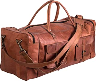 TUZECH Handmde Vintage Real Leather Duffel Bag Large 30 inch Travel Bag Gym Sports Overnight Weekender Air Cabin Bag (Double Pocket)
