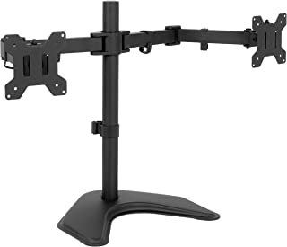 "VIVO Full Motion Dual Monitor Free-Standing Desk Stand VESA Mount Double Joints | Holds 13"" to 32"" Screens (STAND-V102K)"
