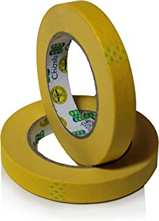 Insta Finish Performance Yellow Masking Tape (3/4 inch x 60 Yards) 1 Case of 48 Rolls - Crepe Paper Industrial Grade - Easy Release Auto Body Tape .75""