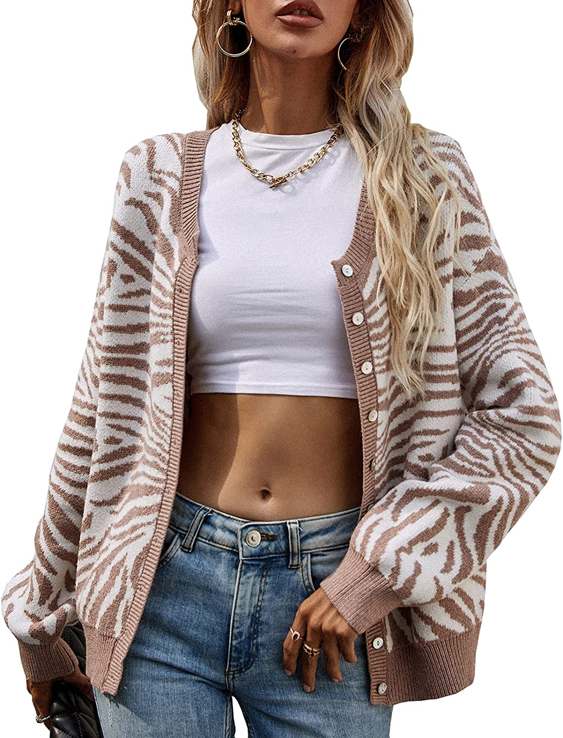 kinstell Women's Printing Striped Open Front Knit Button Down Crew Neck Long Sleeve Casual Cardigan Sweater Outwear Coat