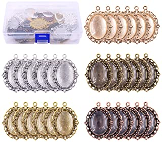 Swpeet 60 Pcs Pendant Trays Kit, Including 30 Pieces 5 Colors Pendant Trays Oval Bezels with 30 Pieces Glass Dome Tiles fo...