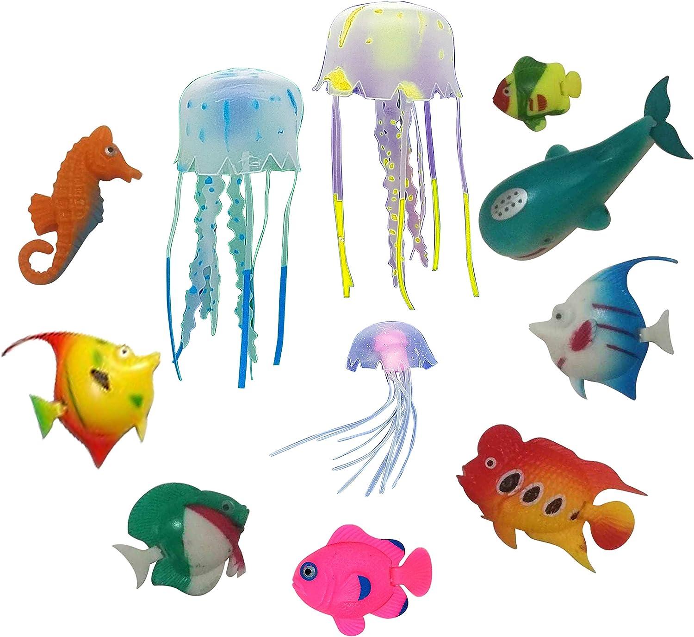 FANTASY FISH & JELLYFISH for Jellyfish Lamps – ULTIMATE Set of 11 Fun Multicolored Sea Creatures for Jellyfish Lava Lights & Aquariums