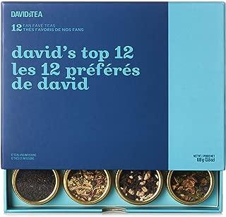 DAVIDsTEA David's Top 12 Tea Sampler, Loose Leaf Tea Gift Set, Assortment of 12 Fan Favourite Teas, 106 g / 3.8 oz (SP)