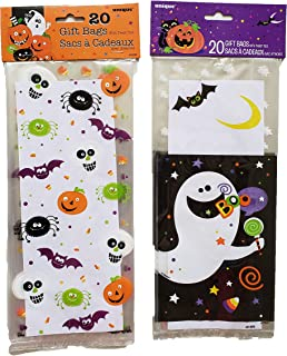 Halloween Themed Loot Treat Goody Bags - with Ghosts, Pumpkins, Spiders and More - 50 Pack (Ghost/Pumpkin)