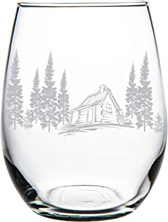C M Cabin in the woods stemless wine glass, 15 oz.